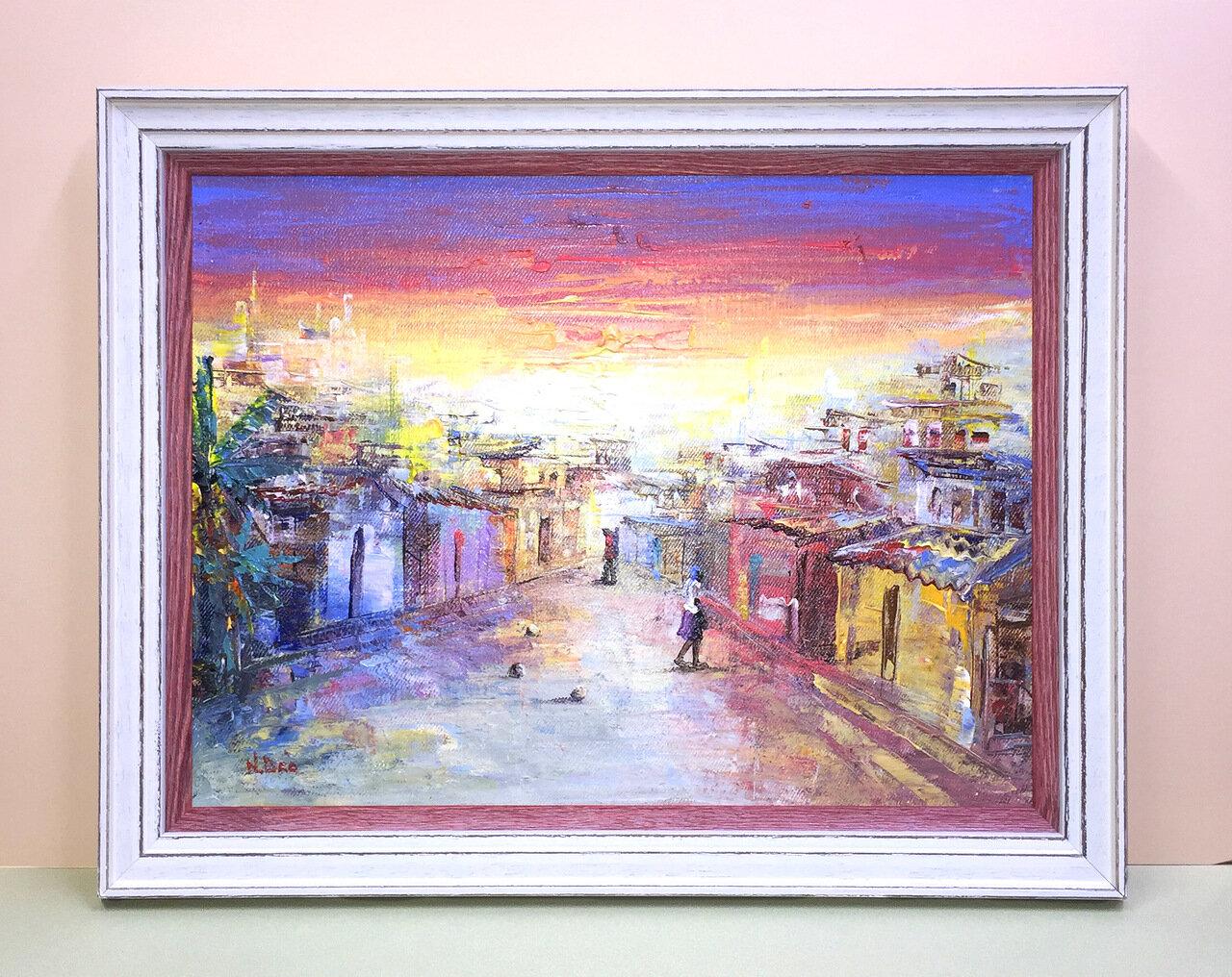 Двойной деревянный багет для картины «Городской пейзаж»