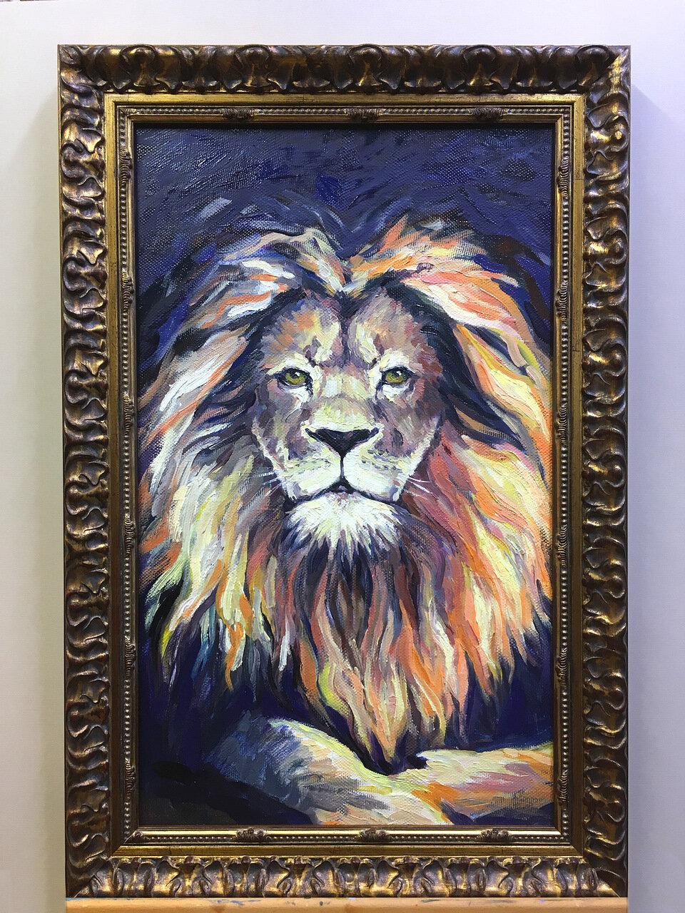 Оформление в классический багет картина «Лев»
