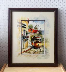 Обрамление акварели «Трамвай» с дорисовкой