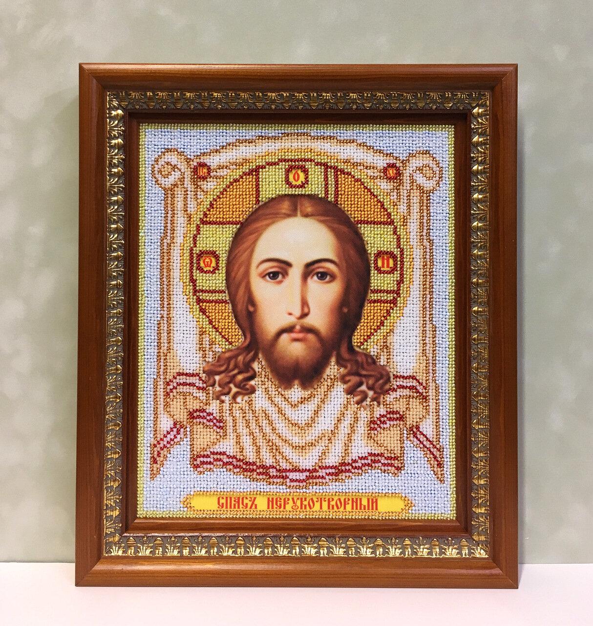 Оформление иконы из бисера «Святой Николай»